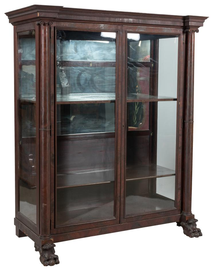 Empire Style Mahogany China Closet