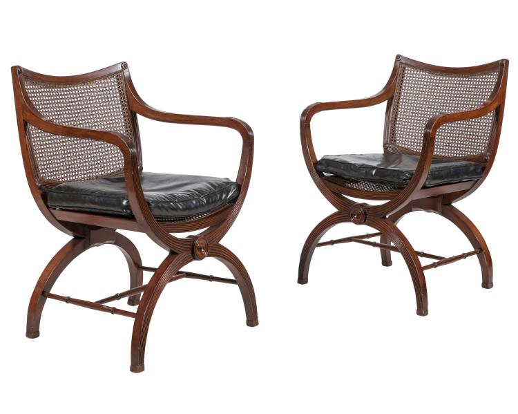 Directoire Style Arm Chairs - Pair