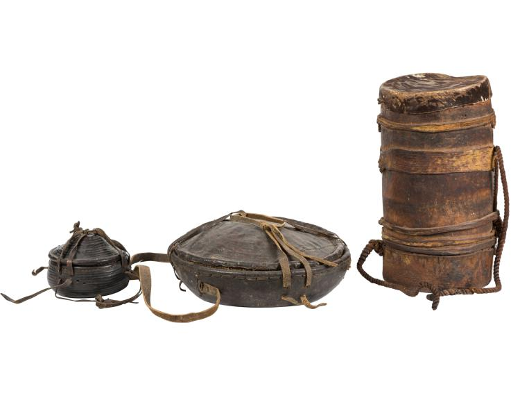 African Leather Travel Containers