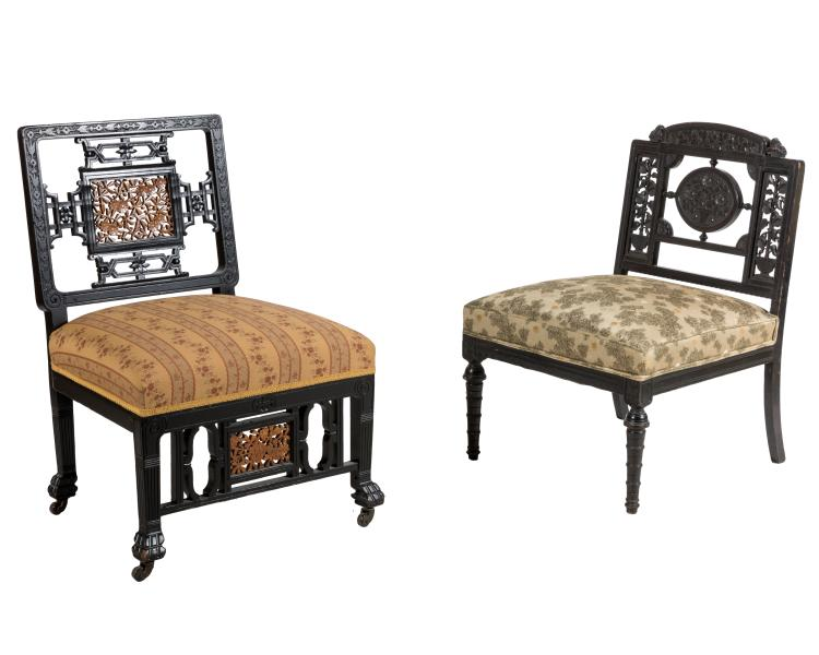 Two Ebonized Eastlake Chairs