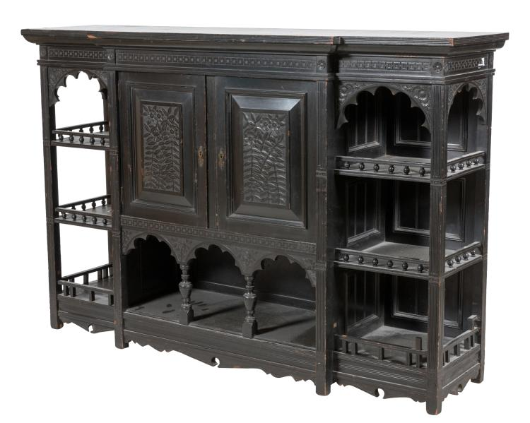 Ebonized Aesthetic Etagere Cabinet