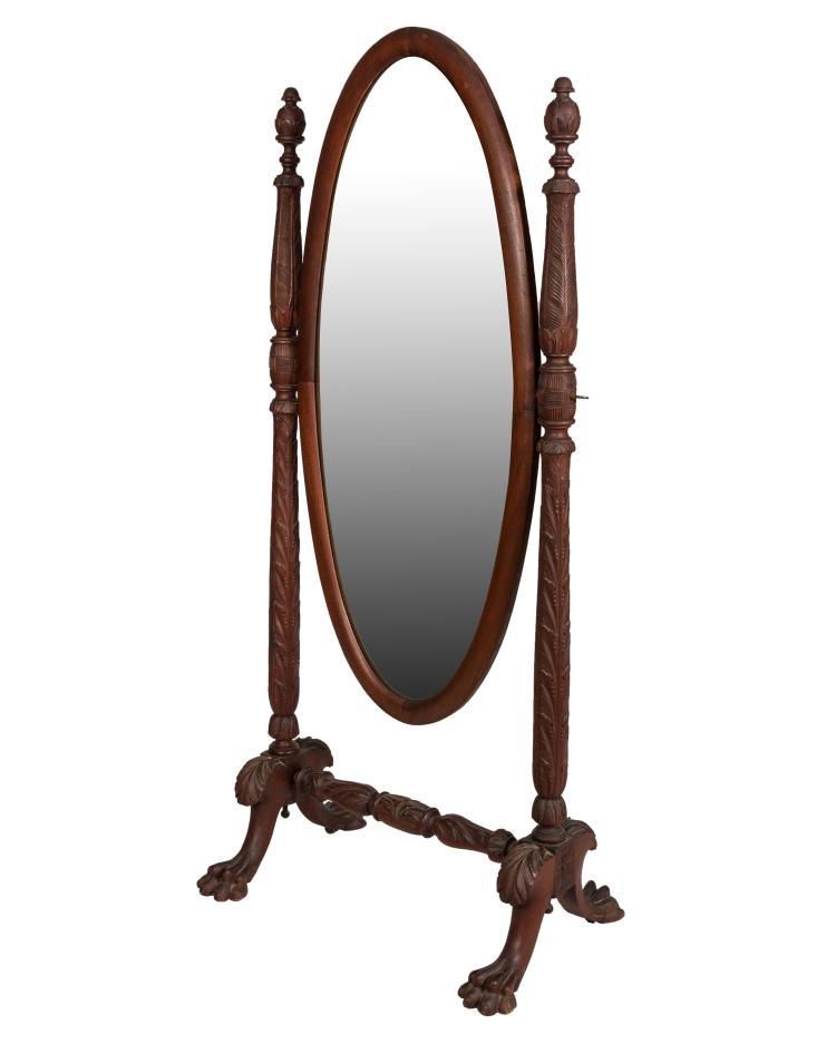 Acanthus Mahogany Cheval Mirror