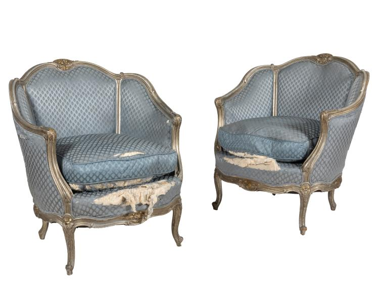 Silverleaf French Style Bergere Chairs - Pair