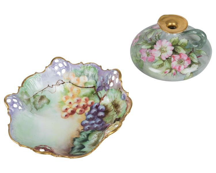 Painted Limoges Bowl and Pitcher