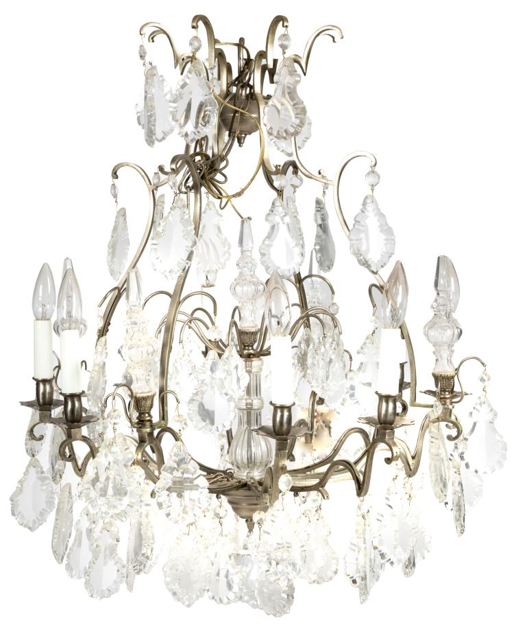 French Bronze and Faceted Crystal Chandelier