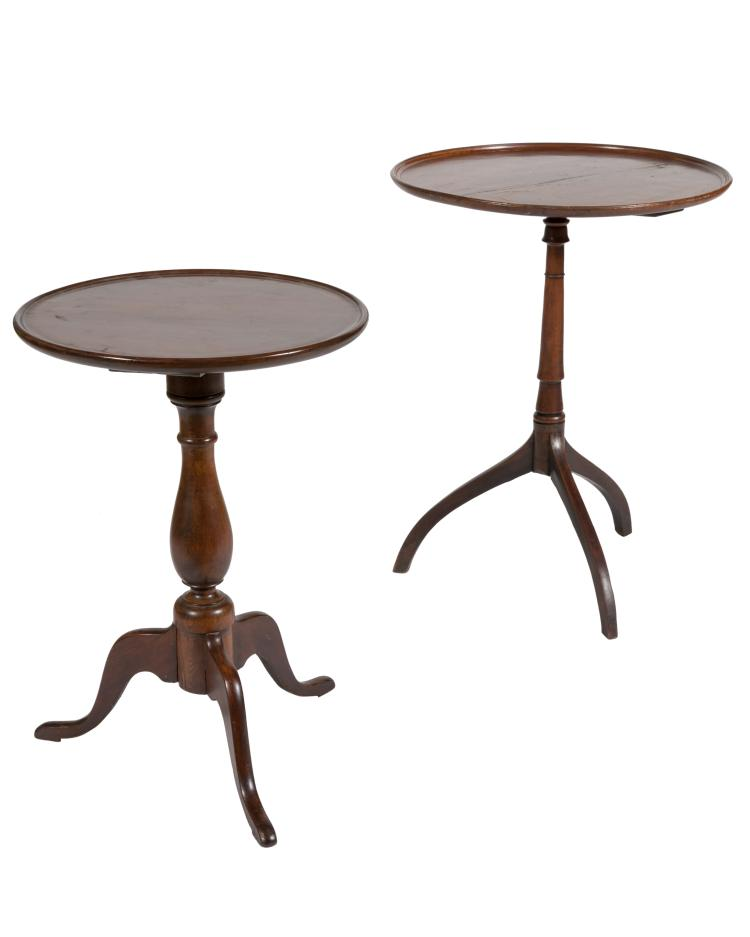 Antique Mahogany Candle Stands - Two