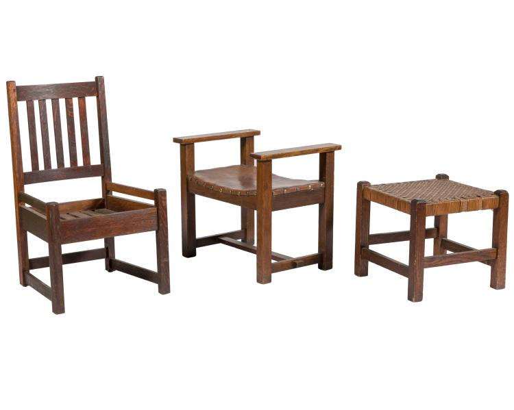 Mission Oak Chair, Bench and Stool