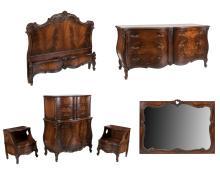 French Style Mahogany Bedroom Set - 6 Piece
