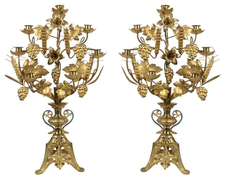 Brass Grape Design Candelabras - Pair