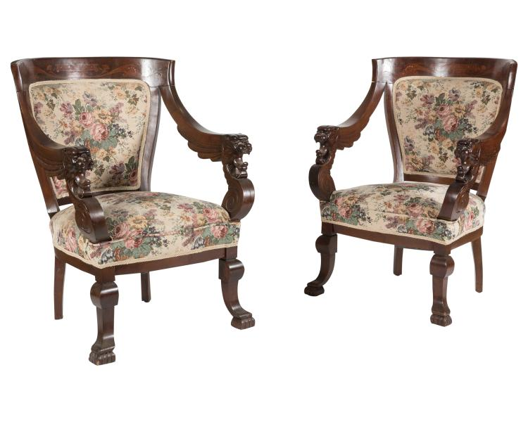 Carved Victorian Mahogany Inlaid Chairs - Pair