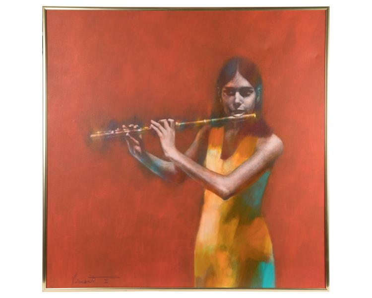 Flutist - Acrylic on Canvas - Vincent