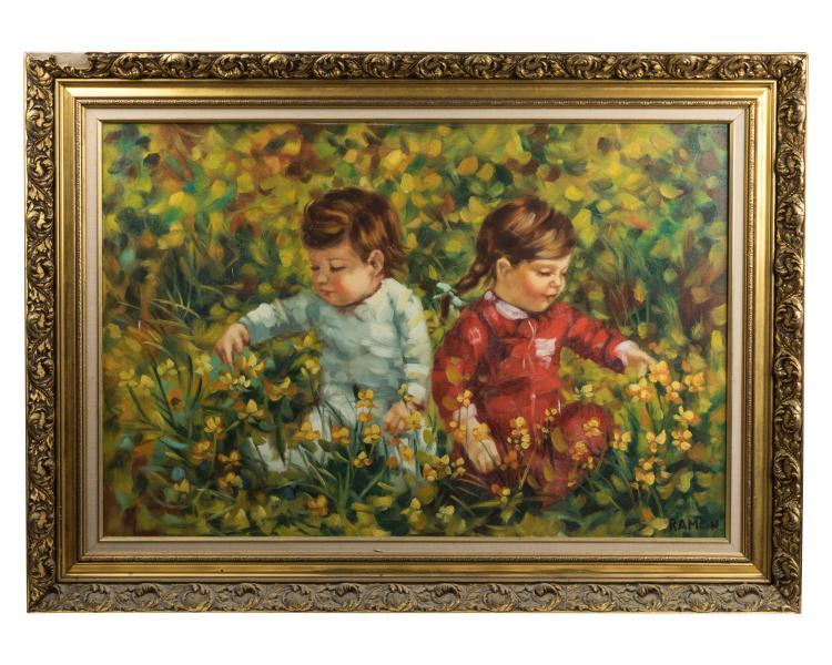 Oil on Canvas of Children - Giltwood Frame Signed