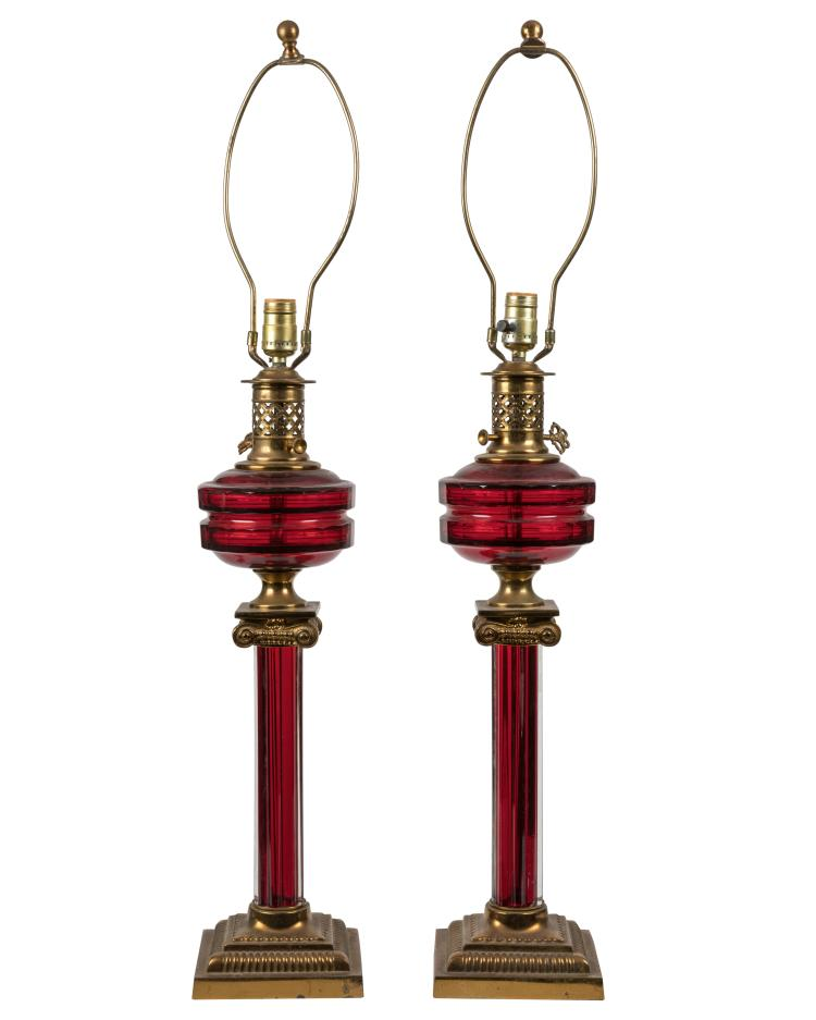 Victorian Style Cranberry Banquet Lamps - Pair