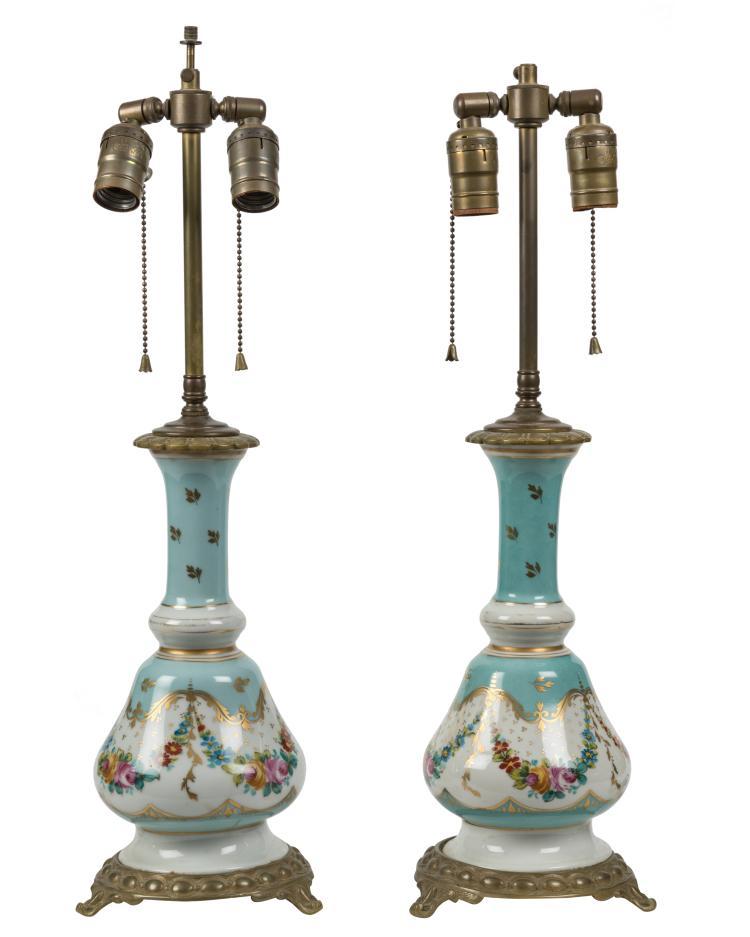 Old Paris Style Porcelain Lamps - Pair