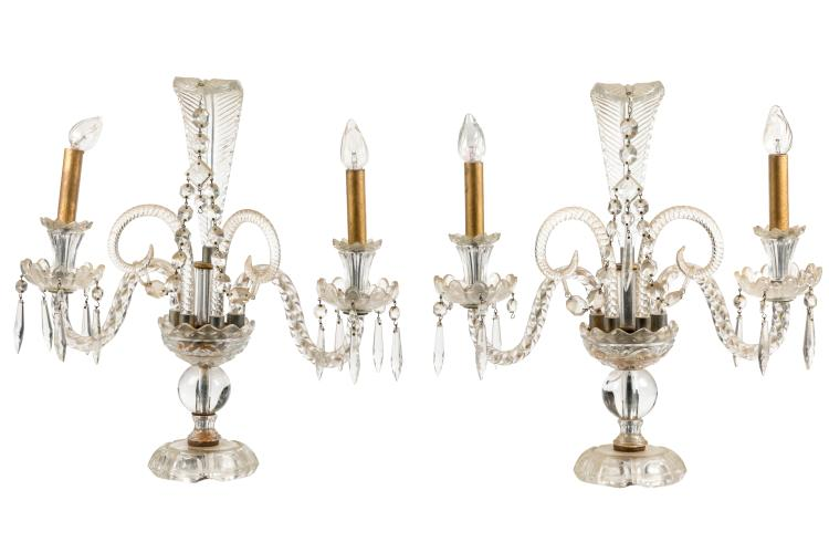 French Style Crystal Candelabras - Pair