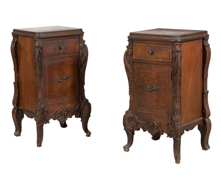 French Style Mahogany Nightstands - Pair