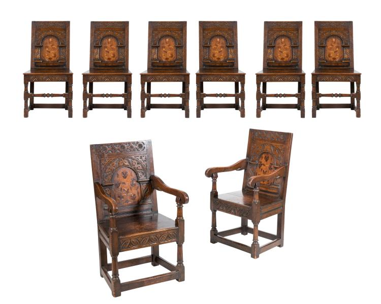 Jacobean Style Carved Oak Dining Chairs - Set of 8