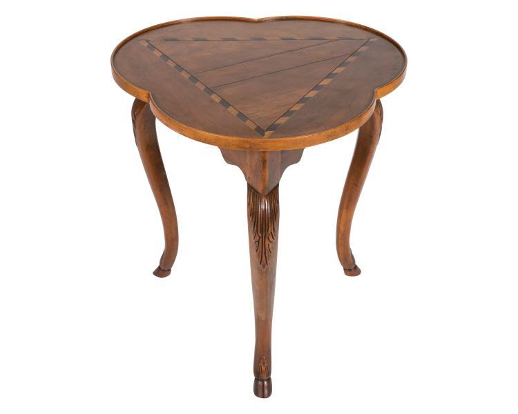 Baker Inlaid Cloverleaf Table