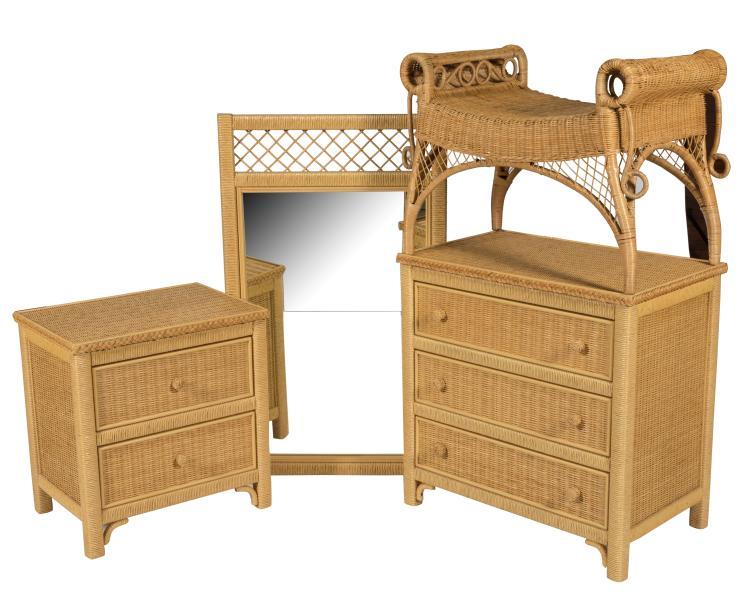 Henry Link Wicker Bedroom Set - Signed