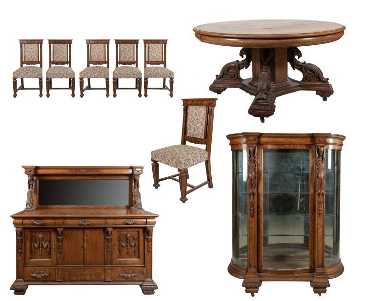 Carved Oak Dining Room Set - 9 Piece