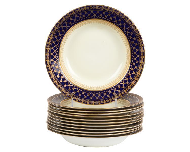English Raised Gold Soup Bowls - 12