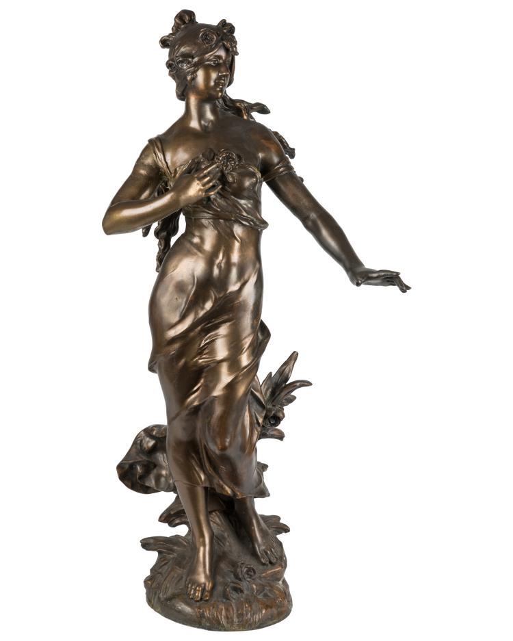 Large Spelter Figure - Signed A. Moreau