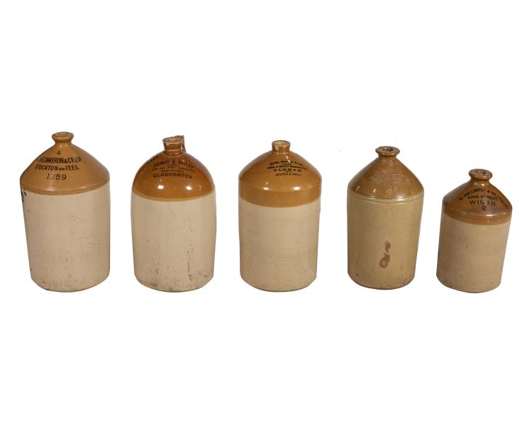 5 English Liquor Jugs