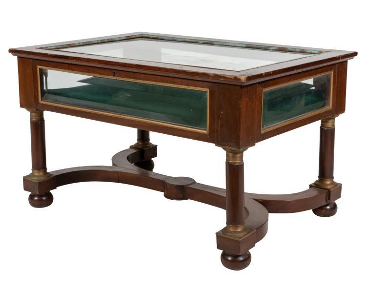 Mahogany Empire Style Vitrine Table