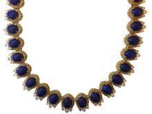18k Gold Necklace with Lapis & Diamonds