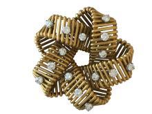 Hermes 18k Gold and Diamond Brooch