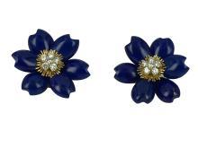 18k Yellow Gold Flower Earrings