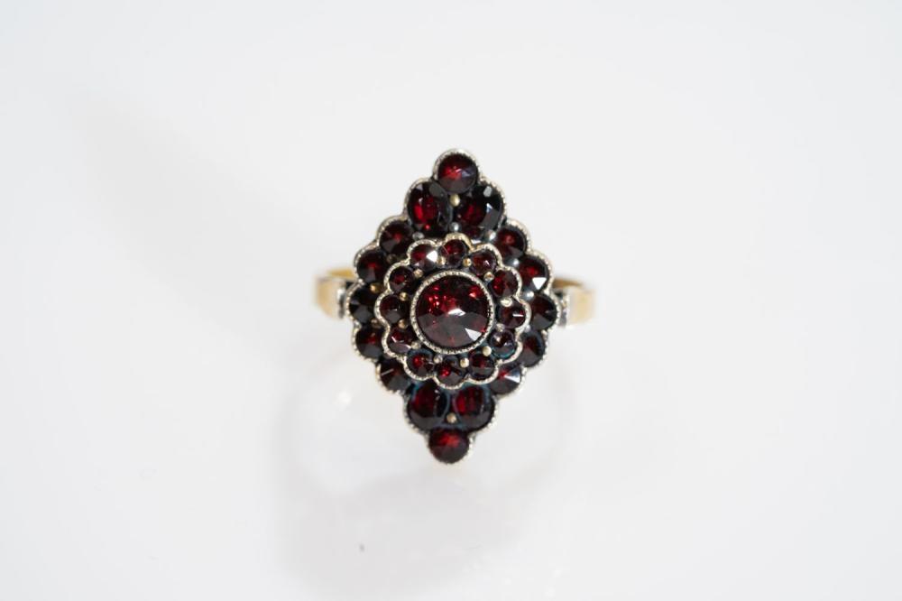 Estate Bohemian Garnet Cluster Ring