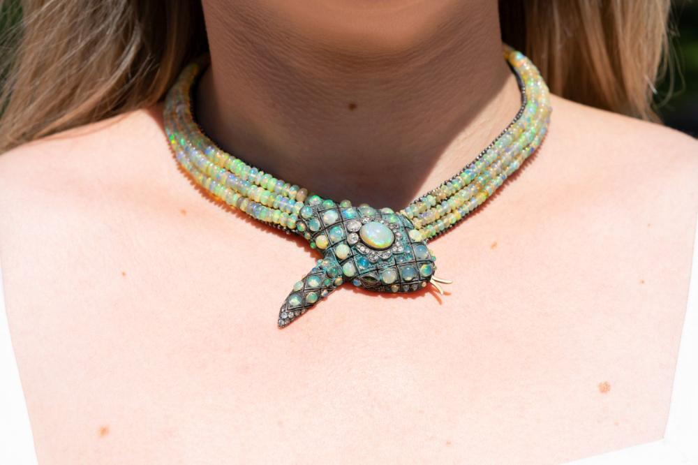 Exotic Estate Opal and Diamond Snake Necklace
