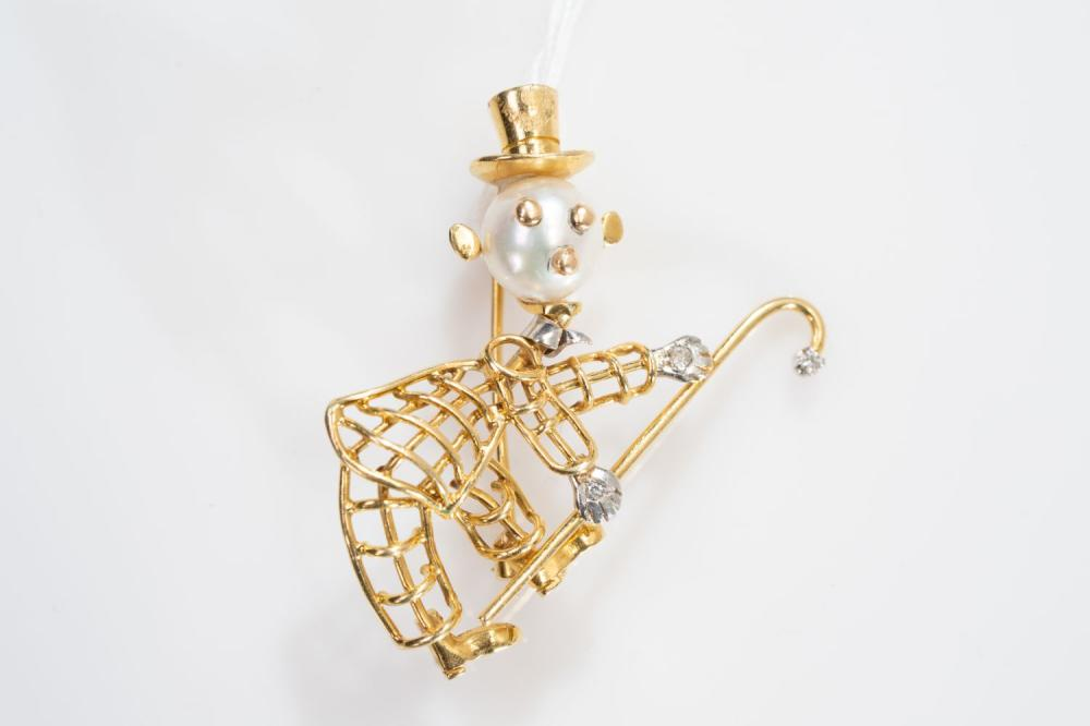 18KT/Platinum Pearl and Diamond Monopoly Guy Brooch