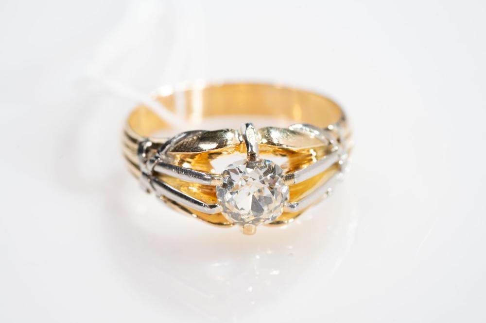 18KT Old Mine Cut Diamond Mens Ring