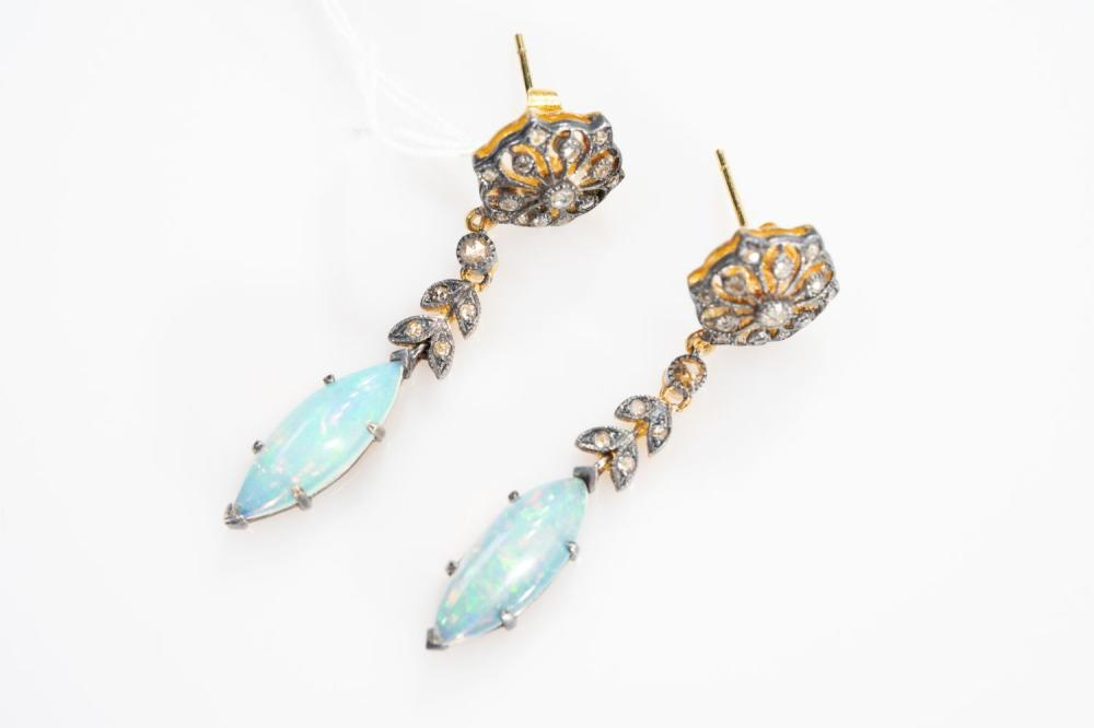 14KY Victorian  .40ct Diamond and 1.70ct African Opal Hand Made Earrings