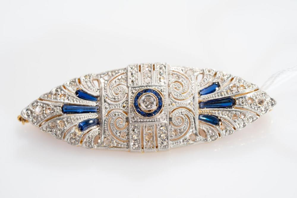 18KT/Platinum Art Deco Sapphire and Diamond Brooch