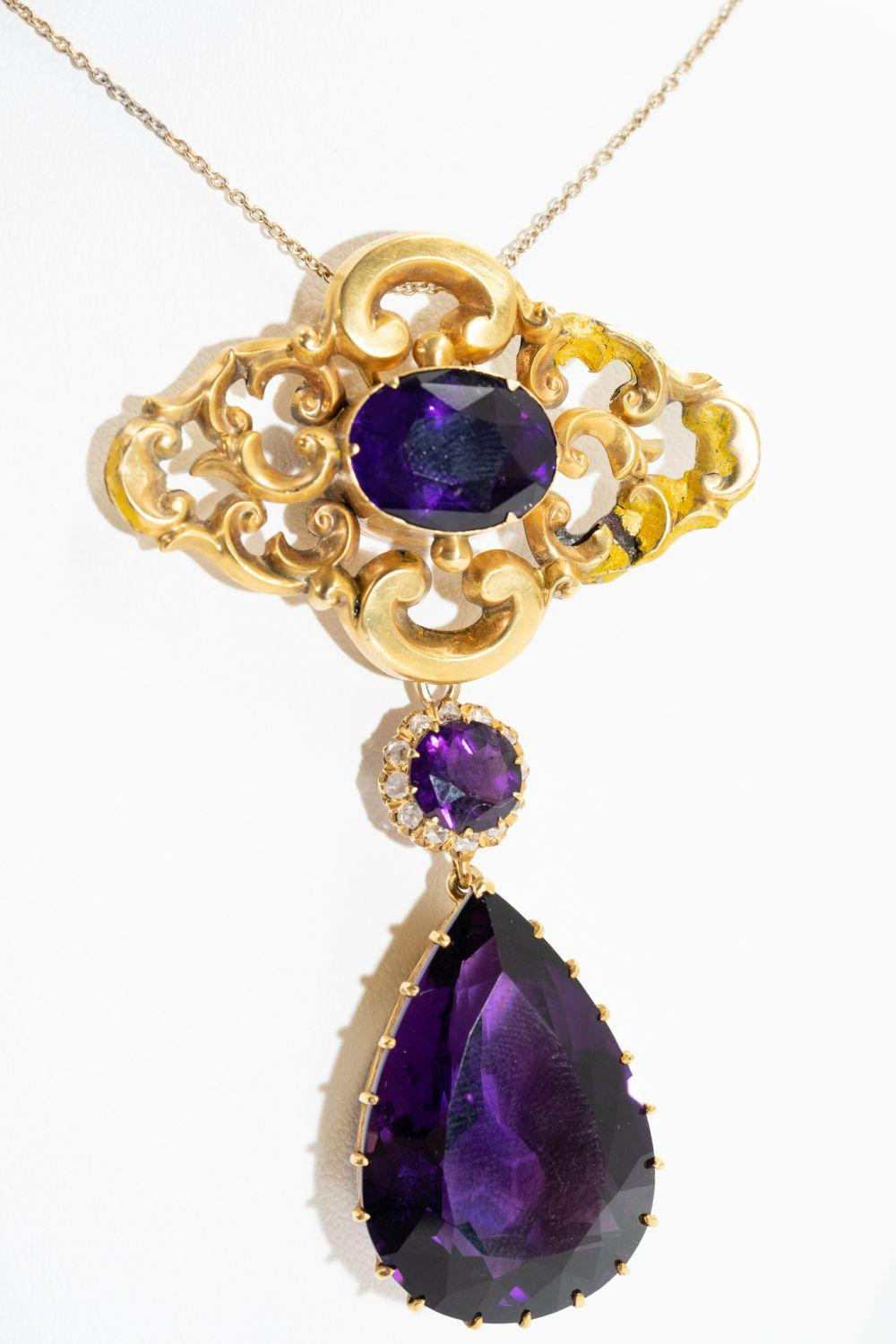 Victorian 40ct Amethyst and Diamond Necklace