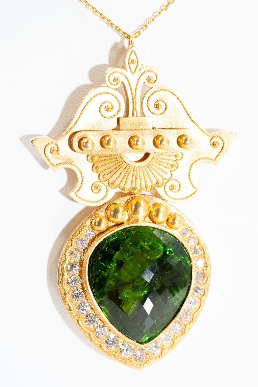 18KT Victorian 35ct Tourmaline Necklace