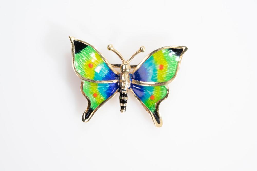 14KT Estate Gold Enamel Butterfly Pin