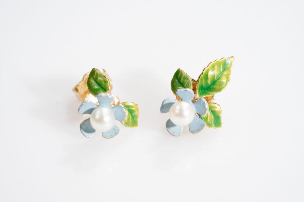 14KT Art Nouveau Enamel and Pearl Floral Earrings.