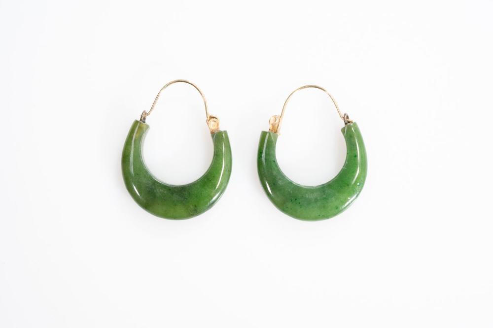 14KT Estate Jade Hoop Earrings