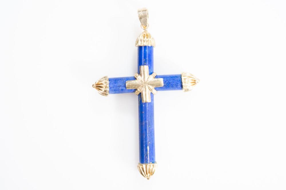 14KT Estate Lapis Lazuli Cross Pendant