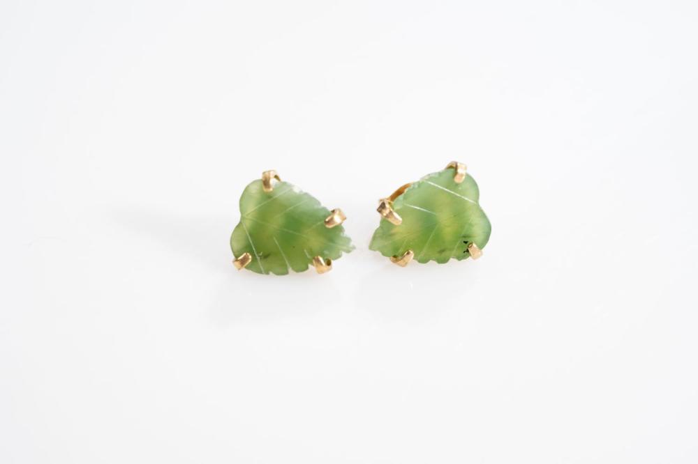 14KT  Estate Floral Jade Earrings
