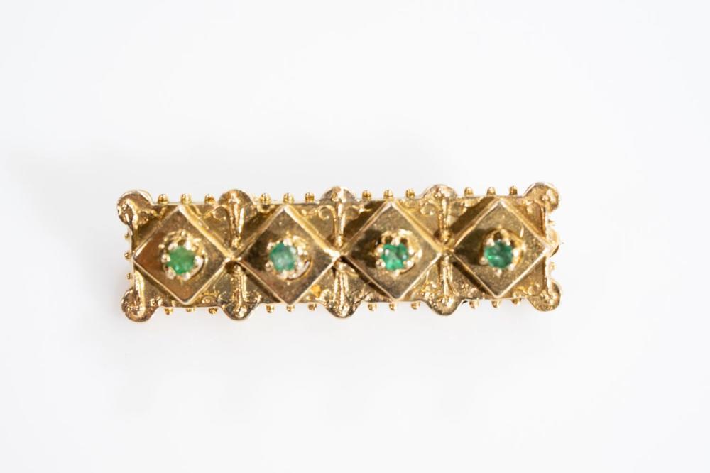 Antique 14KT Emerald Pin