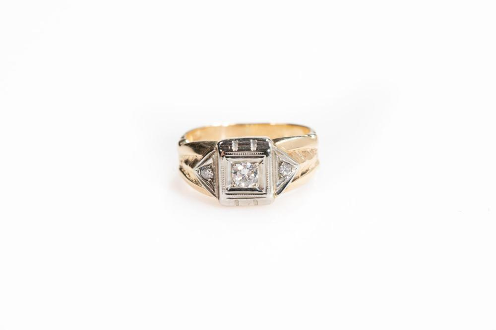 14KT/Platinum  Vintage Mens Diamond Ring