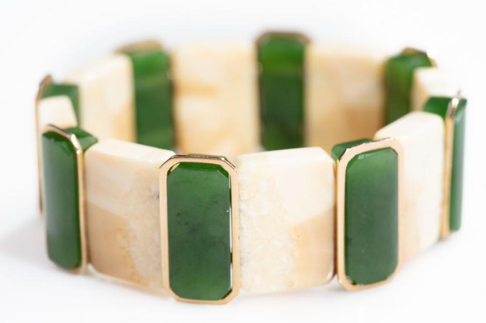 14KT Estate Jade and Bone Flex Bracelet