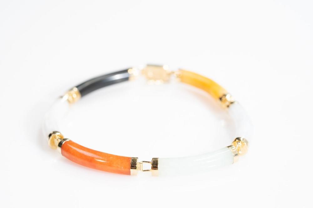 14KT Estate Multi Color Jade Bracelet