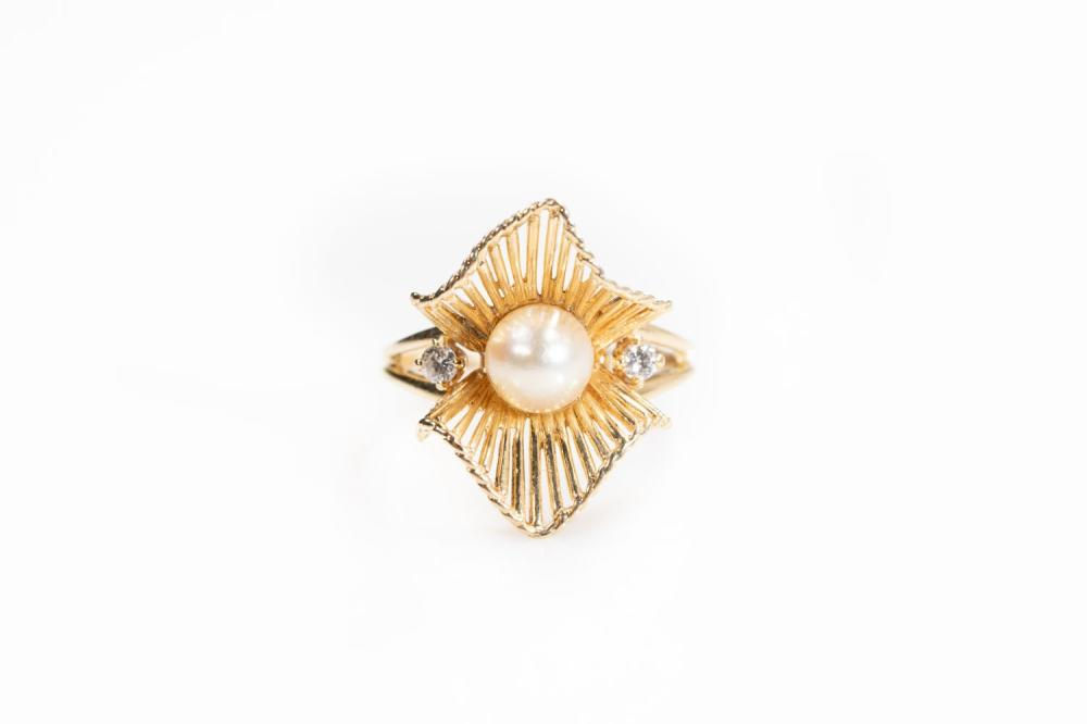 14KT Vintage Pearl and Diamond Ring
