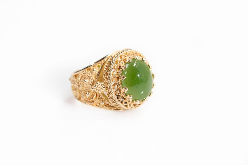 14KT Vintage Ornate Jade Ring